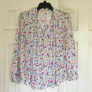 White Multi Floral Long Sleeve Tunic Top Loose Fit